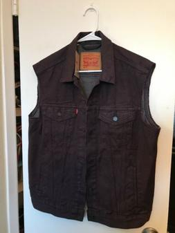 NWT MEN'S LEVI'S DENIM TRUCKER SLEEVELESS VEST JACKET SIZE L