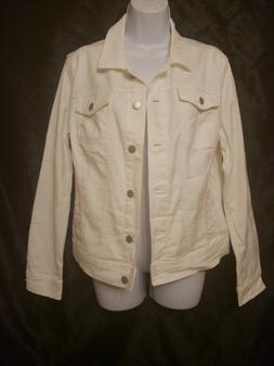 NWT WOMEN'S WHITE DENIM JEAN JACKET SIZE LARGE BY UNIVERSAL