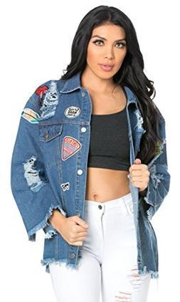 SOHO GLAM Oversized Patched and Distressed Denim Jacket in B