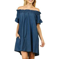 BEAUTYVAN Plus Size Off The Shoulder Dresses,Womens Summer D