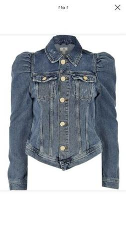 Puff Sleeve Denim Jacket Ladies Size 18 River Island Sold Ou