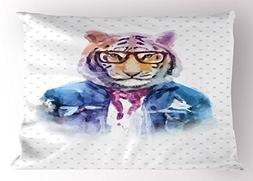 Lunarable Quirky Pillow Sham, Intellectual Tiger with Scarf