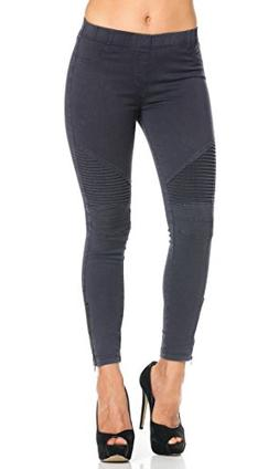 Ribbed Biker Ankle Zipped Jeggings in Navy Blue