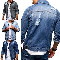 Ripped Denim Jacket Mens Classic Casual Slim Fit Jeans Coat