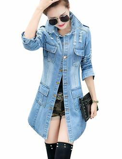 Tanming Women's Casual Lapel Slim Long Sleeve Denim Outercoa