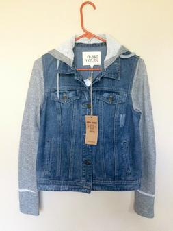 Thread & Supply Denim Jacket Grey Sleeves and Detachable Hoo