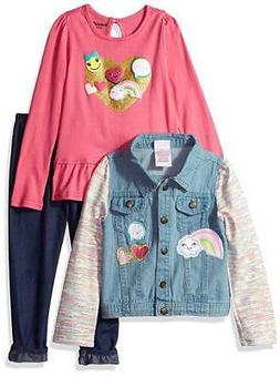 Nannette Toddler Girls' Denim Jacket 3pc Legging Set Size 2T