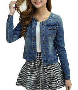 Denim Jackets Trendy XU Long Sleeve Collarless Short Cropped