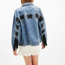 Turn Down Collar <font><b>Jacket</b></font> <font><b>Denim</
