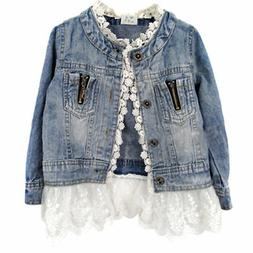 US Girls Kids Denim Jacket Ruffle Lace Jean Coat Top Clothin