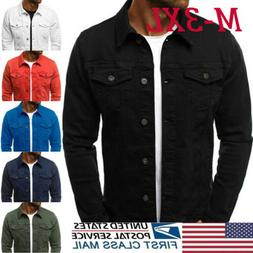 US Men Denim Jeans Jacket Short Slim Fit Classic Retro Vinta