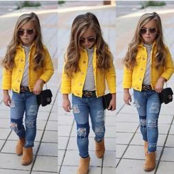 US Princess Kids Baby Girls Boys Denim Jacket Button Coat Ou