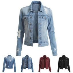 US Women Denim Jacket Long Sleeve Distressed Ripped Button J