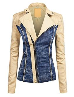 WJC1014 Womens Faux Leather Biker Denim Jacket XS Cream_Blue