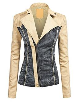 Made By Johnny WJC1014 Womens Faux Leather Biker Denim Jacke
