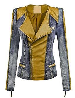 WJC1018 Womens Faux Leather Collarless Denim Jacket XS Camel