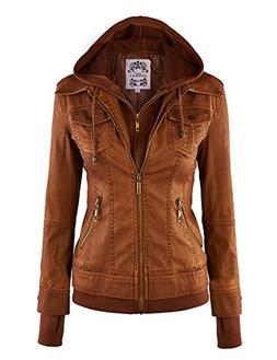 Made By Johnny WJC664 Womens Faux Leather Jacket with Hoodie