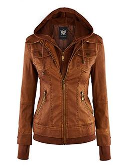WJC664 Womens Faux Leather Jacket With Hoodie XL Camel