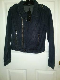 Allegra K Woman's Jean Jacket Zip Up Size Small
