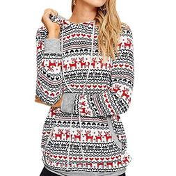 COPPEN Women Christmas Pullover Snow Patterns Floral Hoodie