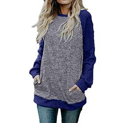 Women Long Sleeve Blouse Casual Crew Neck Tops Pocket Tunic