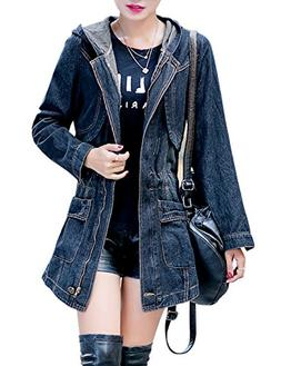 women s casual mid long hooded denim