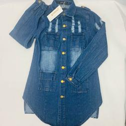 Tanming Women's Denim Distressed Button Front  Jacket Size S