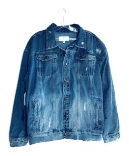 Women's Denim Jacket Distressed Ripped Light-Wash OverSize T