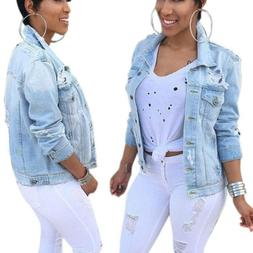 Women's Denim Jacket Long Sleeve Distressed Ripped Button Ca