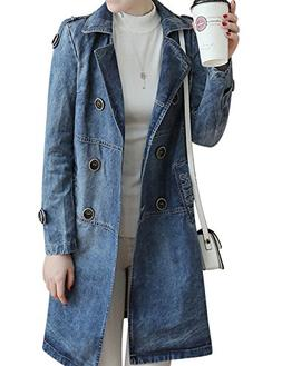 Tanming Women's Double Breasted Long Denim Jean Trench Coat