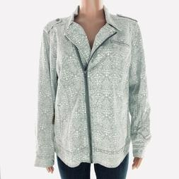 RUFF HEWN Women's Jean Jacket 2X Gray Lace Floral Zip Up Den