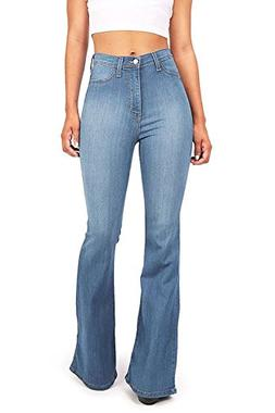 CLANNAD Women's Juniors High Waist Denim Jeans Bell Bottom F
