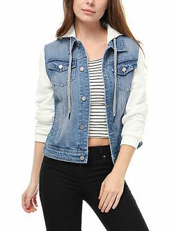 Allegra K Women's Layered Drawstring Hood Denim Jacket w Poc