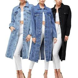 Women's Long Casual Maxi Length Denim Cotton Coat Oversize B