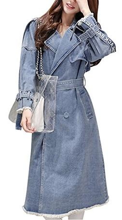 Gihuo Women's Mid Long Lapel Denim Jacket Single Breasted Be