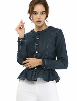 Women's Peplum Button Down Cropped Ruffle Hem Denim Jackets
