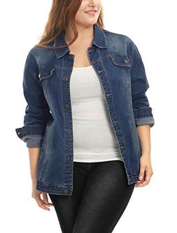 uxcell Women's Plus Size Button Down Washed Denim Jacket wit