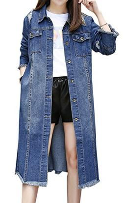 Gihuo Women's Ripped Button Front Long Denim Jacket Trench C
