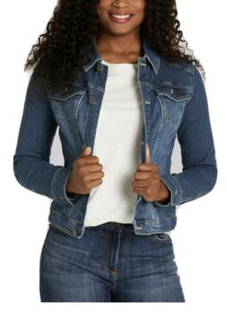 women s stretch denim jacket weathered large