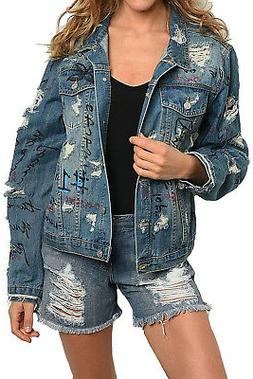 Women'sPrinted Distressed Relaxed Loose Jean Denim Jacket Co