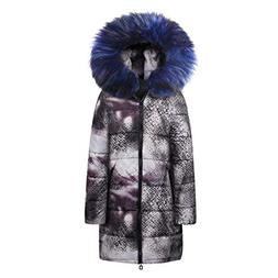 COPPEN Women Winter Coat Long Down Cotton Snake Print Parka