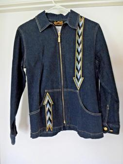 Womens Bob Mackie Wearable Art Arrow Design Blue Denim Jacke