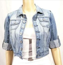 Womens Highway Jeans Blue Cropped Denim Jacket - Size S