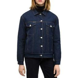 Calvin Klein Jeans Womens Blue Quilted Logo Denim Jacket Out