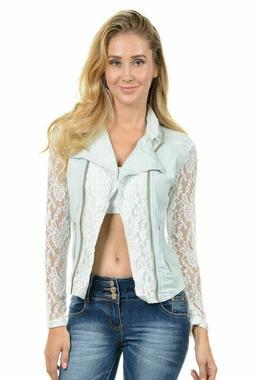 Womens Denim lace sleeves and back Jacket Light Blue By Swee