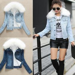 Womens Fleece Lining Sherpa Denim Jacket Faux Fur Collar Top
