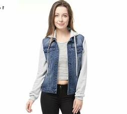 Allegra K Womens Hooded Jean Jacket Small NWT A4