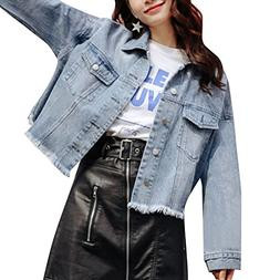womens long sleeve denim jacket back slit