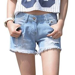 JudyBridal Womens Oversize Jean Shorts Plus Size Ripped Girl
