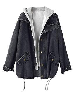 ZAFUL Womens Plus Size Loose Button Up Denim Jacket and Hood